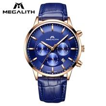 MEGALITH الأزرق جلد أصلي للرجال ساعة مقاوم للماء كرونوغراف تاريخ التقويم كوارتز ساعة معصم للرجال ساعة Horloges Mannen