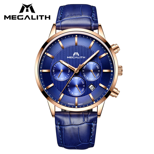MEGALITH כחול אמיתי עור גברים של שעון עמיד למים הכרונוגרף תאריך לוח שנה קוורץ שעון יד לגברים שעון Horloges Mannen