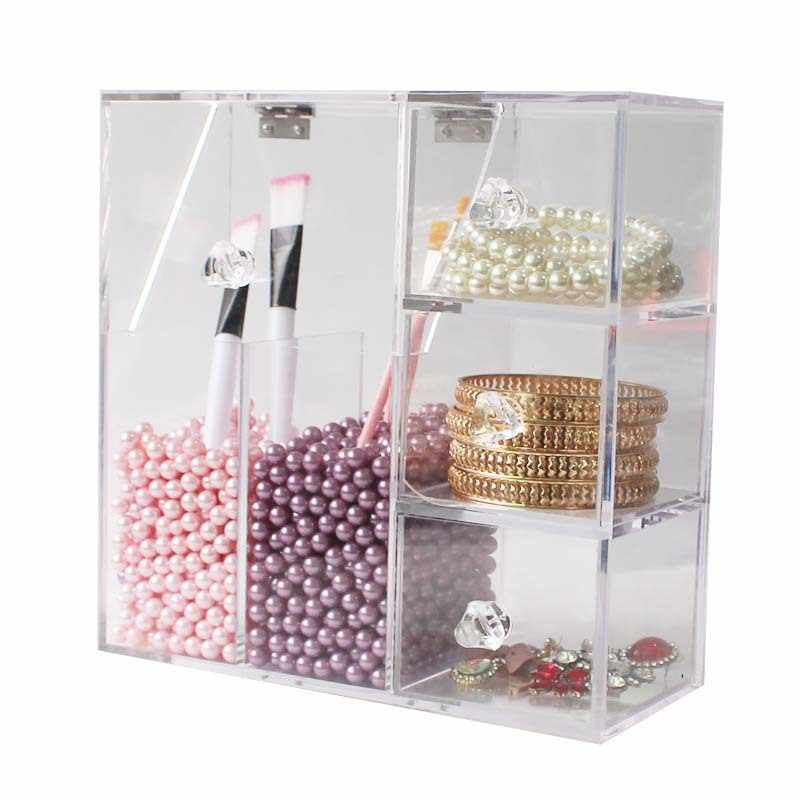 Acrylic Makeup Organizer CC Cream Storage Box Clarity Cosmetic Makeup Brush Holder Vanity Cabinet Powder Display