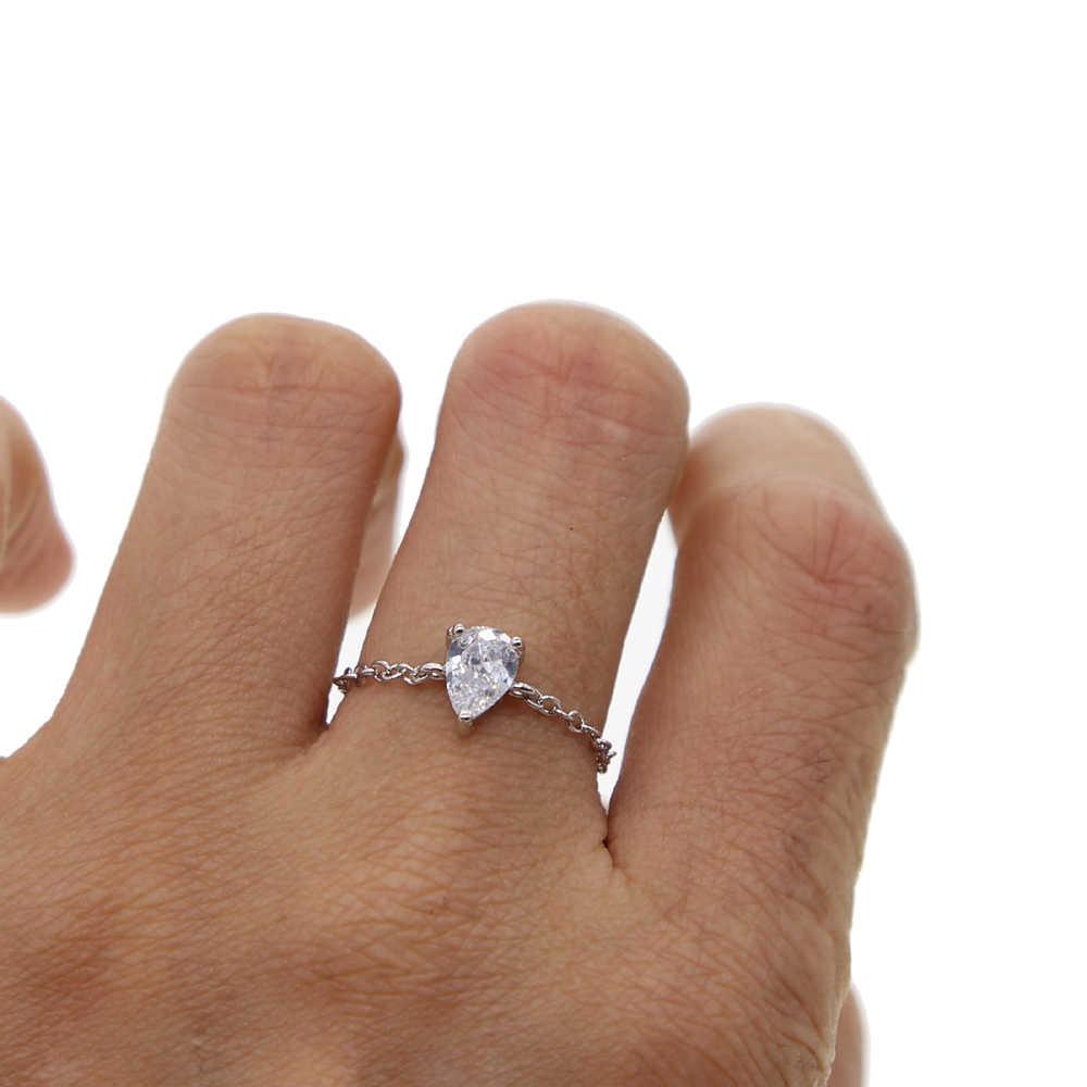 Nhẫn cưới cho Phụ Nữ Cô Gái AAA + Cubic Zirconia Vòng Quà Tặng Trang Sức Đơn Giản Bạc Màu Top Promise Engagement Ring