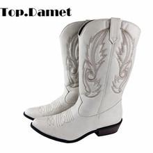 Top.Damet Western Stiefel Frauen Herbst Winter Slip Auf Einfarbig Stiefel Spitze Zehen Cowboy Cowgirl Motorrad Stiefel für Weibliche