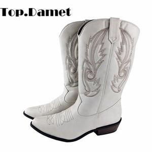 Image 1 - Top.Damet batı botları kadın sonbahar kış üzerinde kayma düz renk çizmeler sivri burun kovboy Cowgirl motosiklet botları kadın