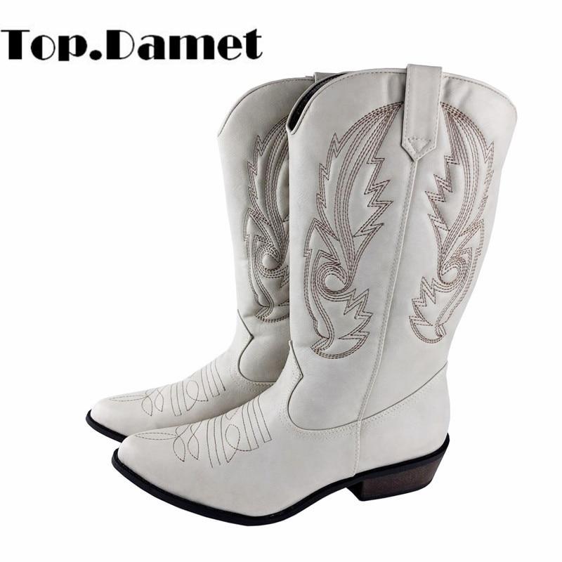 Top. damet Ocidental Botas Mulheres Outono Inverno Deslizamento Em Botas de Cor Sólida Dedo Do Pé Pointy Cowboy Cowgirl Botas de Motociclista para o Sexo Feminino