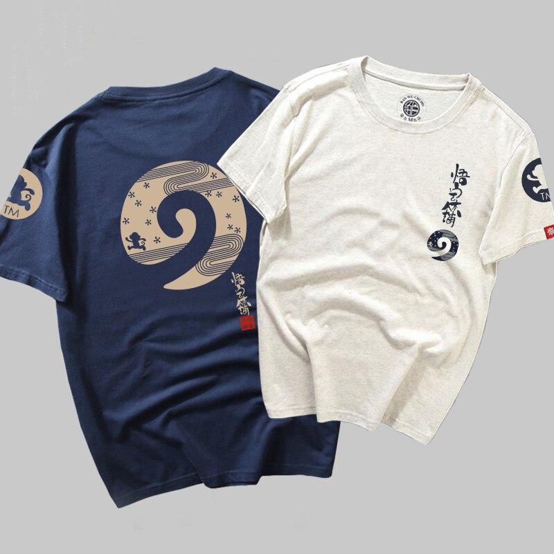 new fashion Cotton Anime   T  -  shirts   Men White Folk   T     shirt   Men monkey Print tshirt Male Chinese Cartoon Tee Harajuku Summer