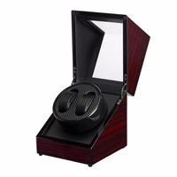 OUTAD Wooden watch box Lacquer Piano Glossy Black Carbon Fiber Double Watch Winder Box Quiet Motor Storage Display Case boxes