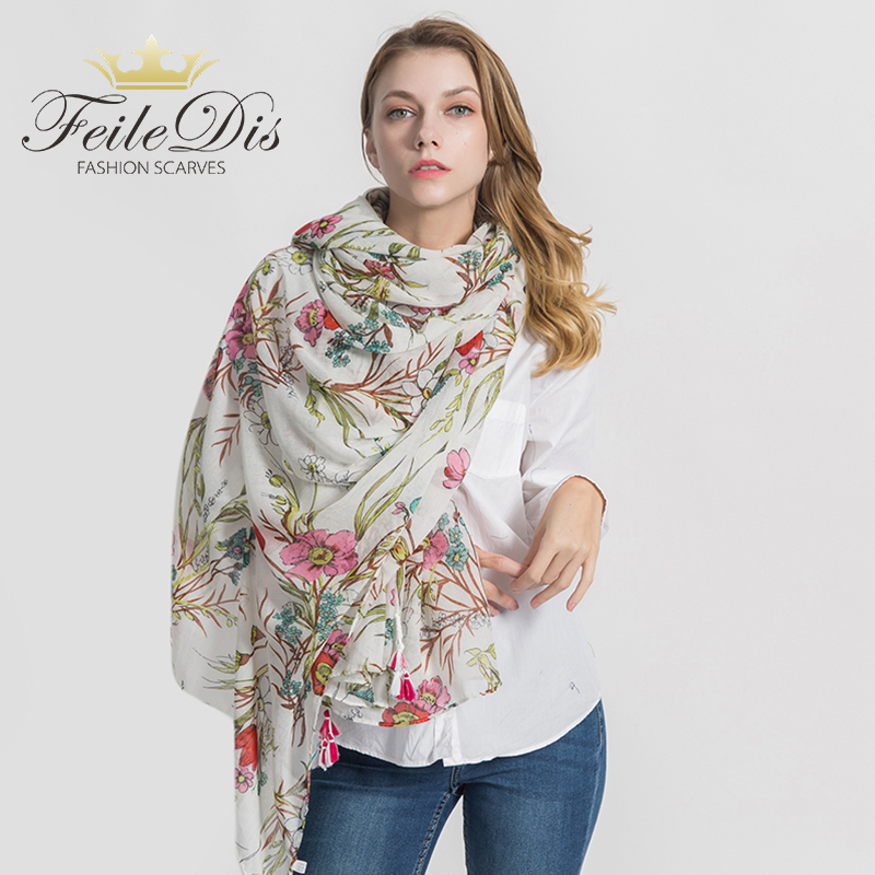 [FEILEDIS]2019 Fashion Cotton scarf Women Wrap Designer Scarves Autumn And Winter Women scarf luxury brand shawl MA1739