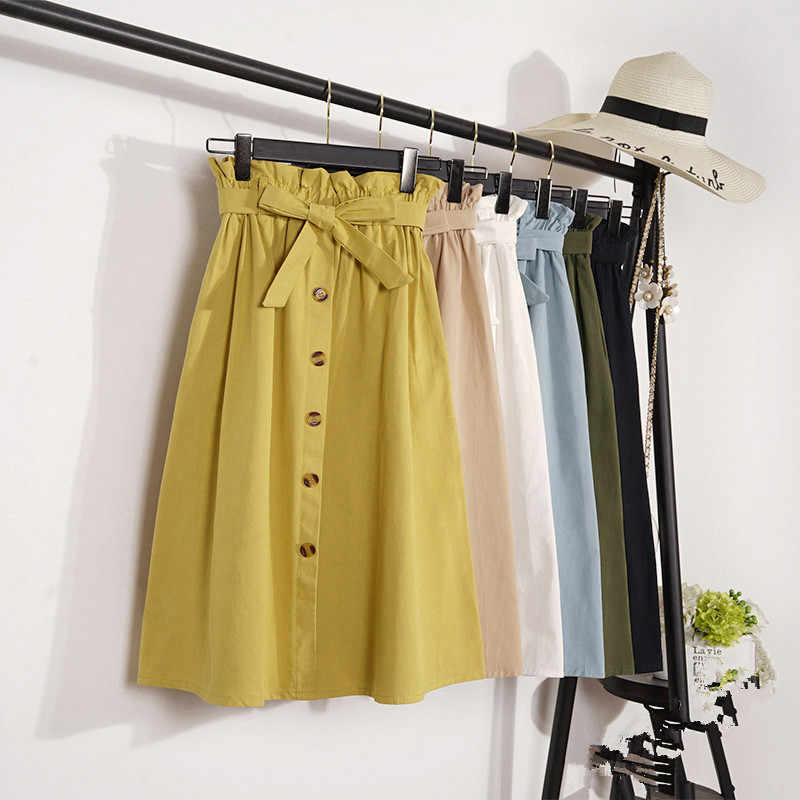 Fashion Women Casual Spring Summer Literary Long A-line Solid Color Skirts Vintage Elastic High Waist Button Belted Skirts