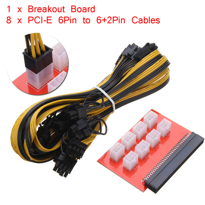 Computer Cables PSU/GPU Power Adapter Breakout Board 1200w/750w + 8pcs 16AWG PCI-E 6Pin to 6+2Pin Wire Cables 27.5 1 x computer cables