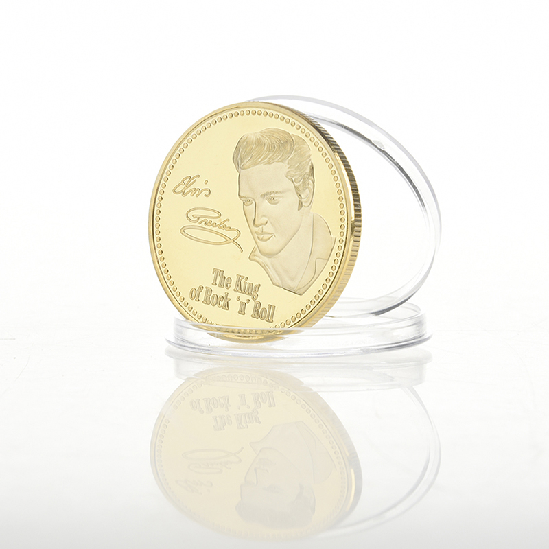 SAE Fortion 1PC Elvis Presley Commemorative Coin 1935-1977 The King of N Rock Roll Gold Commemorative Coin Gift JNB0262 Dropship