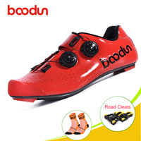 Boodun sapatilha ciclismo carbon fiber cycling shoes riding Double spine buckle Self-locking Light breathable Triathlon Sneakers