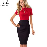 Nice Forever Vintage Contrast Color Patchwork Wear To Work Knot Vestidos Bodycon Office Business Sheath Women