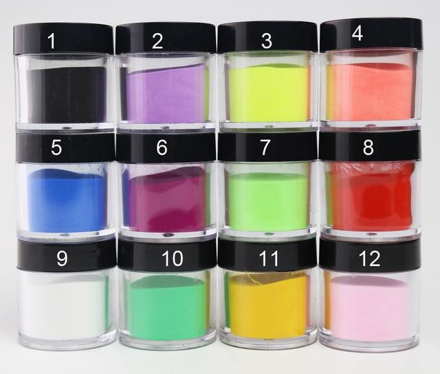 12 צבעים אקריליק אבקת נייל אמנות אבקת אורז Acrylique בצבע אקריל מונומר Acrylverf Nagels Polvos Acrilicos Ongles סט