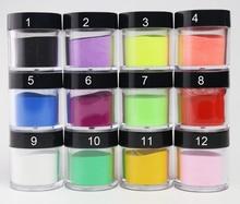 12 Colors Acrylic Powder Nail Art Poudre Acrylique Colored Acryl Monomer Acrylverf Nagels Polvos Acrilicos Ongles Set
