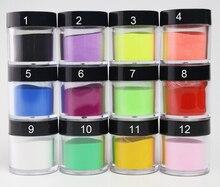 12 가지 색상 아크릴 파우더 네일 아트 Poudre Acrylique 컬러 아크릴 모노머 Acrylverf Nagels Polvos Acrilicos Ongles Set