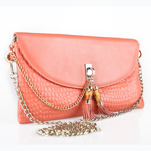 Free Shipping Genuine Leather Tassel Handbags Shoulder Bags Messenger Bag Day Clutch Chain Bag Small Bag Women's Clutches