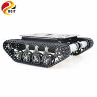 Black Shock Absorber Metal RC Robot Tank Chassis Kit Mobile Platform for Arduino Uno r3 Raspberry Pie DIY Toy Parts