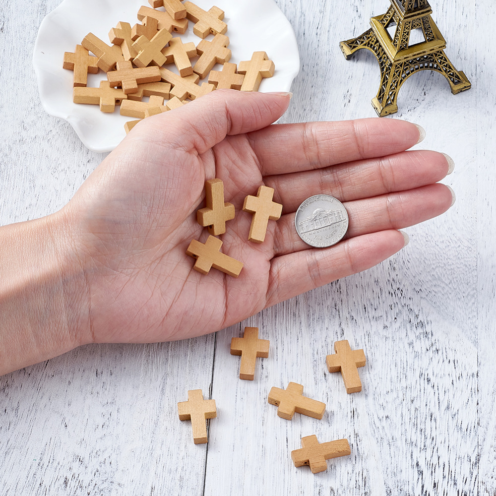 Pandahall 50pcs Natural Unfinished Wood Cross Pendants Beads 7//8 x 5//9 Mini Cross Beads for DIY Jewelry Making