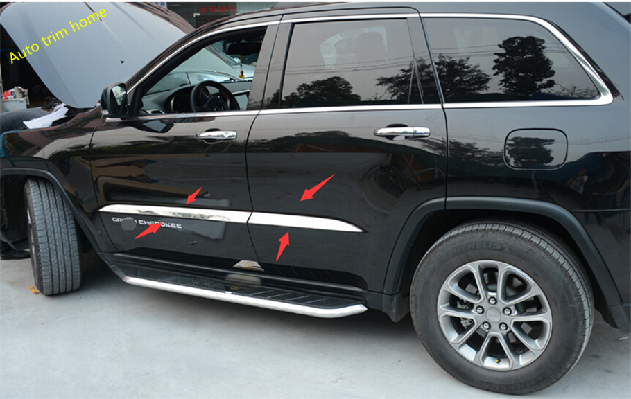 Protector For JEEP Grand Cherokee 2014 stainless steel Door Side Body Molding Cover Trim stainless steel side door molding trim cover for 2013 up subaru forester