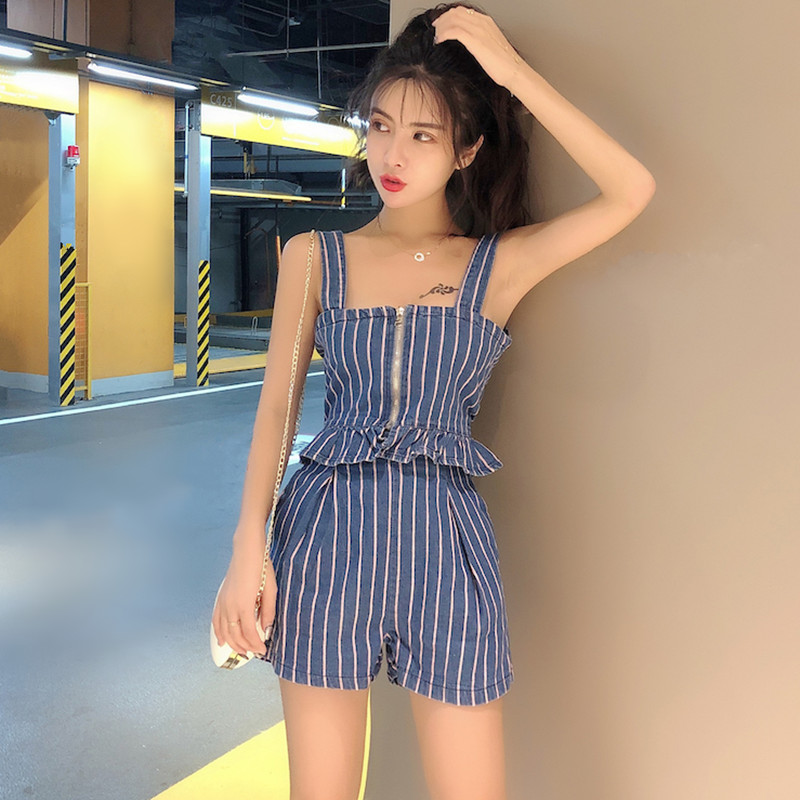 Casual Striped Denim Set Two Piece Short Set For Women Front Zipper Peplum Crop Top And Shorts Sets Outfits