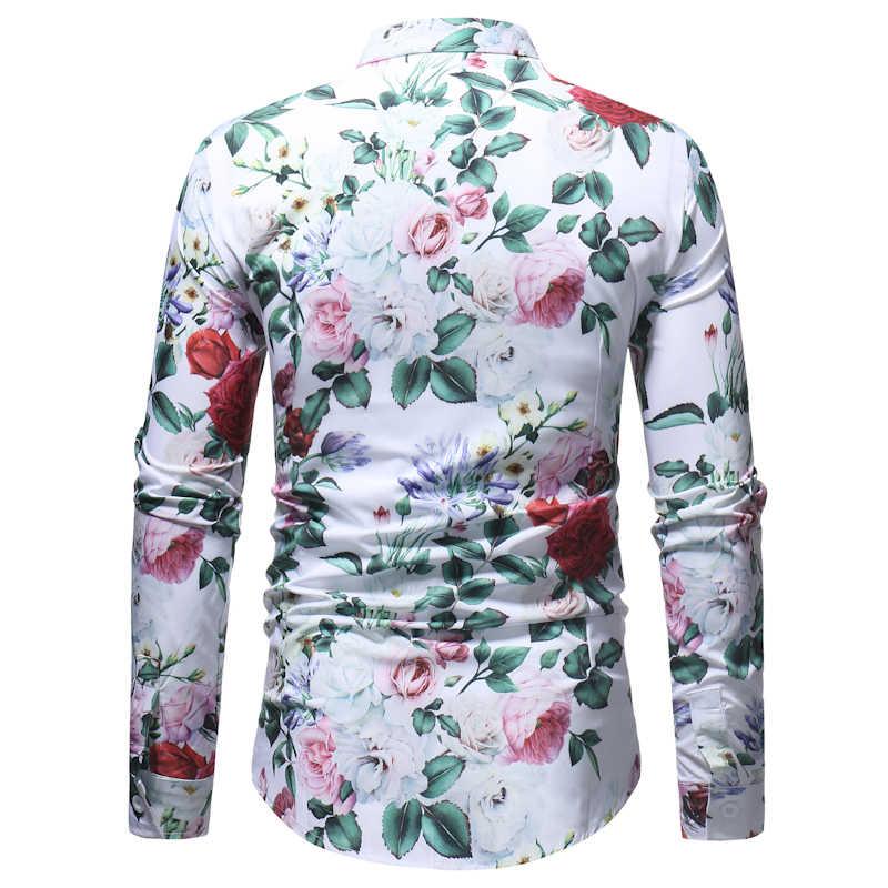 フラワープリントシャツ男性カミーサ花 Masculina 2018 春秋の新メンズカジュアルケリドレスシャツパーティー着用シャツ男性