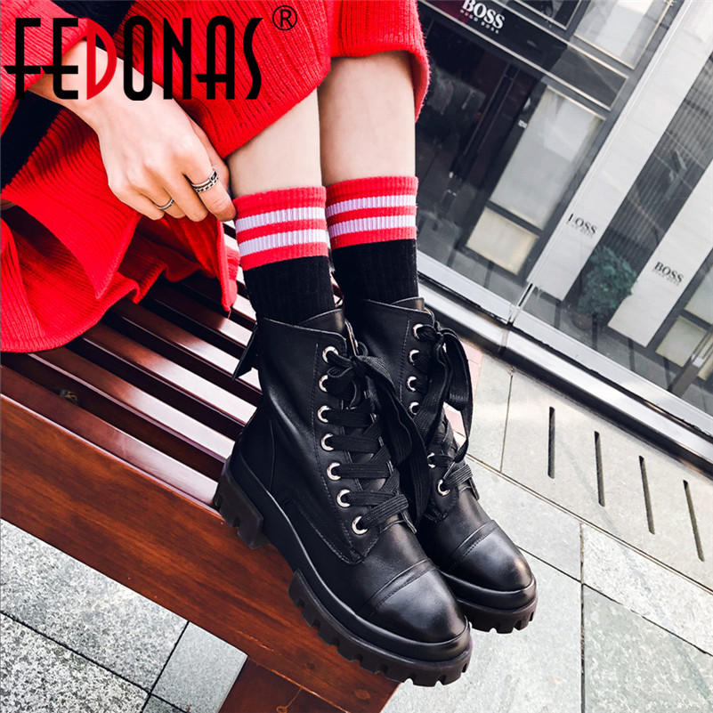 FEDONAS Autumn Winter Punk Lace Up High Heels Women Ankle Boots Genuine Leather Motorcycle Boots Short Boots Party Shoes Woman