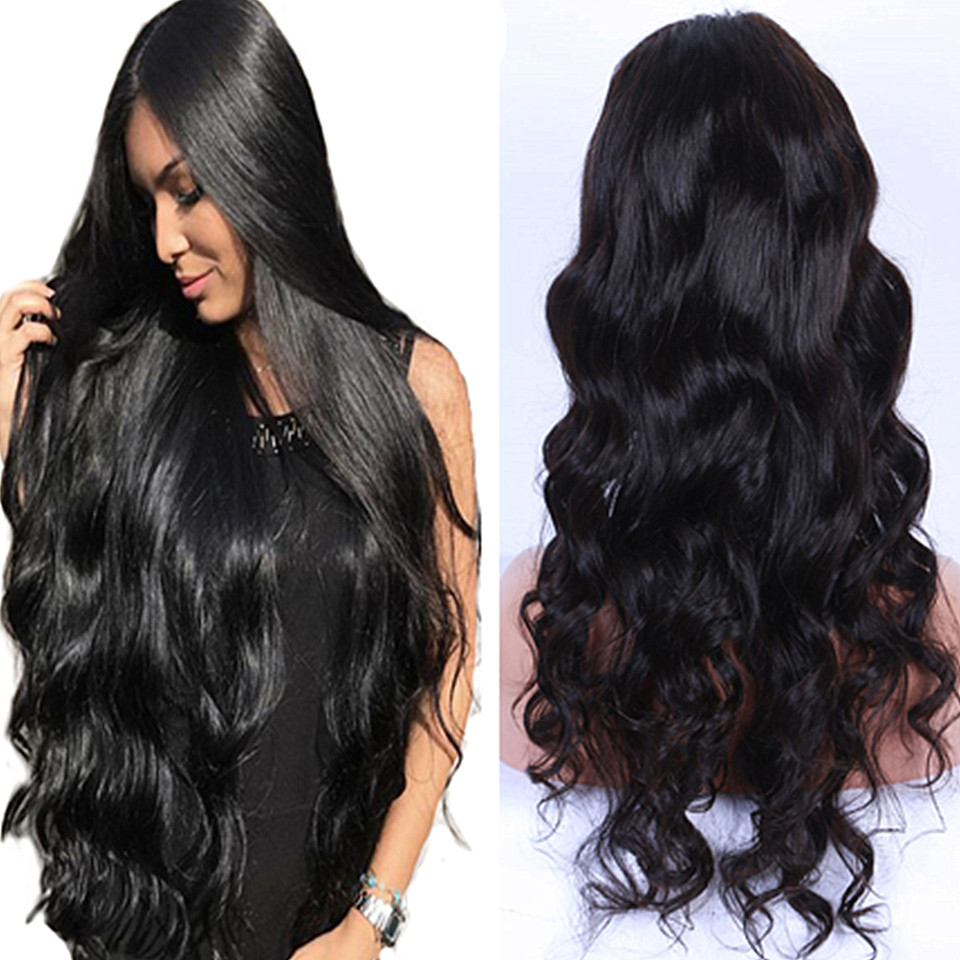 Full Lace Human Hair Wigs With Baby Hair Wet and Wavy Pre Plucked Glueless Full Lace Wigs For Women Body Wave Peruvian Remy Hair(China)