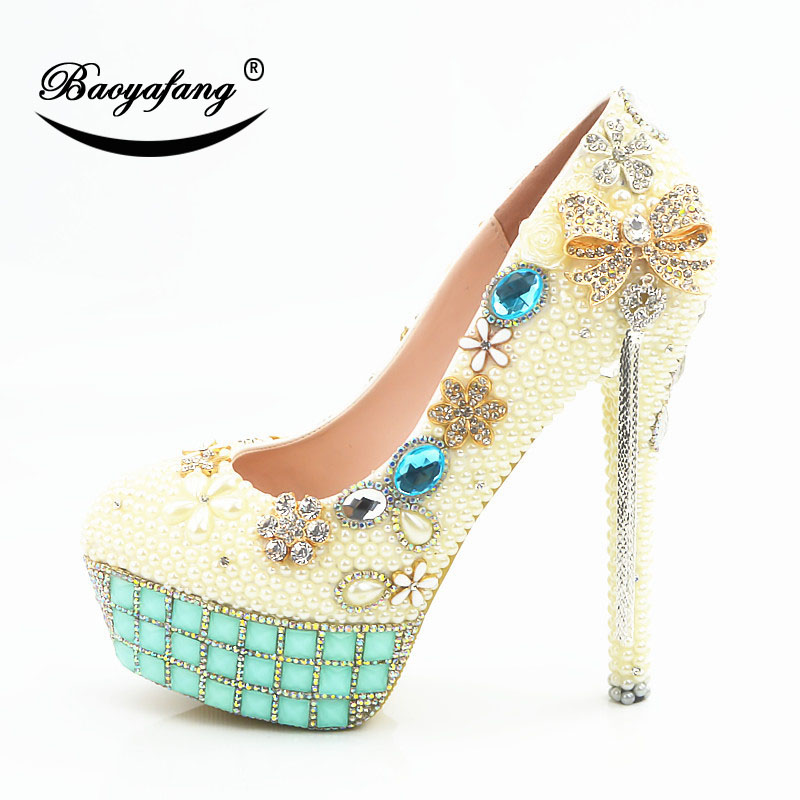 2019 New arrival Womens wedding shoes Rice white pearl Bridal party dress shoes Lake blue drill Woman High heels platform shoe2019 New arrival Womens wedding shoes Rice white pearl Bridal party dress shoes Lake blue drill Woman High heels platform shoe