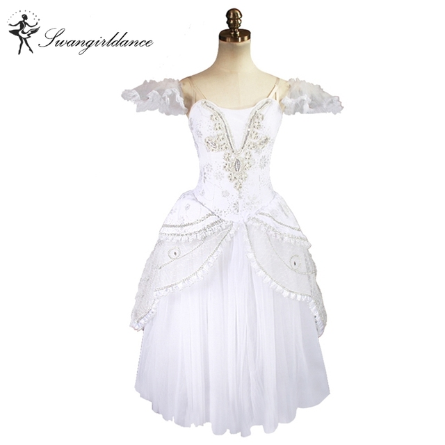 0bbb35ff39b4 white swan lake romantic ballet tutu dress girls Giselle ballerina ...