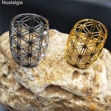 Nostalgia Flower Of Life Wicca Hollow Thin Fleur De Vie Sacred Geometry Adjustable Rings For Women Stainless Steel Gold Ring Men рубашка fleur de vie 24 1860 рост 116 синий
