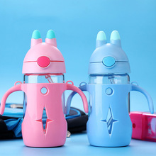 Baby Bottle for Water Infant Newborn Cartoon Glass Cup Children Learn Feeding Straw Milk Drinking Bottle BPA Free for Kids 300ml stylish 300ml cartoon shaun the sheep shape silicone cup set glass water cup