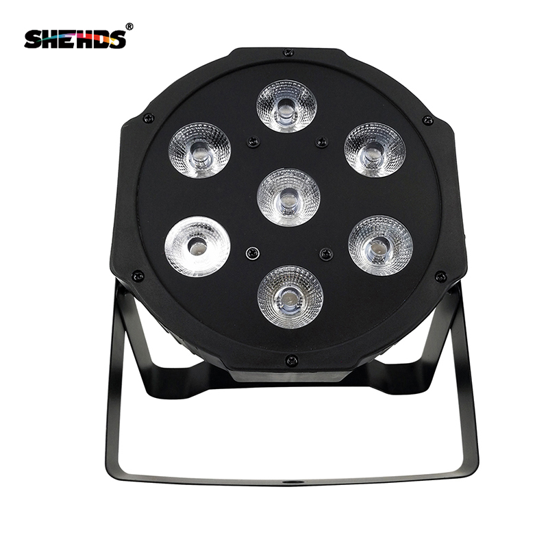 LED Par RGBW Light 7 LEDs 4in1 DMX512 Thin Wash Stage Light Flat Can Mixing Color Projector for Anniversary