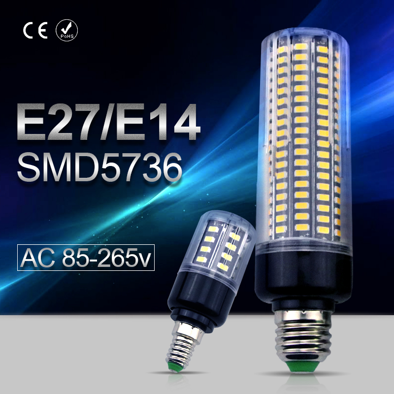 E27 LED Bulb Corn Lamp E14 220V 3.5W 5W 7W 9W 12W 15W 20W led Light 110V Aluminum Energy saving Bulbs 5736 Smart IC No Flicker