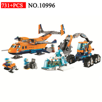 BELA 10996 731pcs City Series Arctic Supply Plane Bela Building Blocks Compatible With 60196 Brick Toys For Children