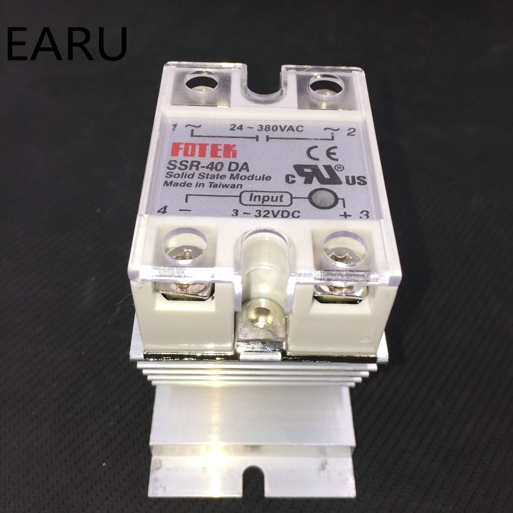1 pc SSR-40DA Solid State Relay Moudle SSR-40 DA 40A with Plastic Cover+1 pc Aluminum Heat Sink Dissipation Radiator Combination solid state relay ssr 120da clear cover for temperature contoller