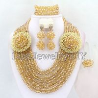 Charming Hot Crystal Necklace Bracelet Earrings Sets African Wedding Beads Jewelry Sets HD3006