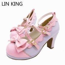LIN KING/большие размеры; сезон весна; удобная обувь ярких цветов для девочек в стиле Лолиты; женская обувь для костюмированной вечеринки из водонепроницаемого материала на высоком каблуке с перекрестными ремешками и бантом