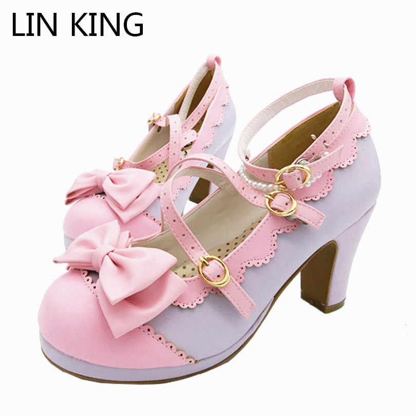 LIN KING Big Size Spring Lolita Girl Candy Color Comfortable Shoes Bowtie Cross Straps Waterproof High-heel Cosplay Women Shoes