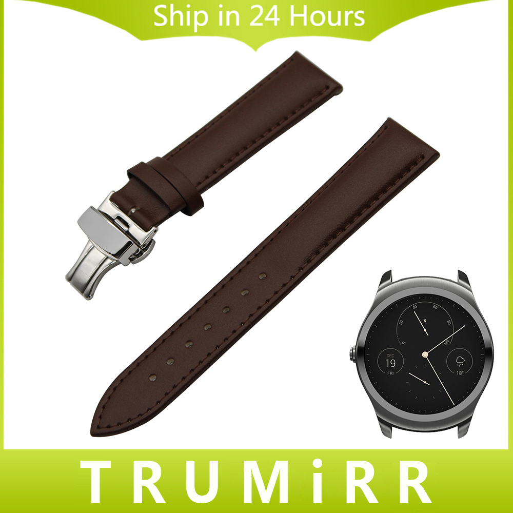 20mm 22mm Genuine Leather Watch Band Butterfly Buckle Strap for Ticwatch 1 46mm /Ticwatch 2 42mm Wrist Belt Bracelet Black Brown genuine leather watch band 20mm for motorola moto 360 2 42mm men 2015 stainless buckle strap wrist belt bracelet black brown