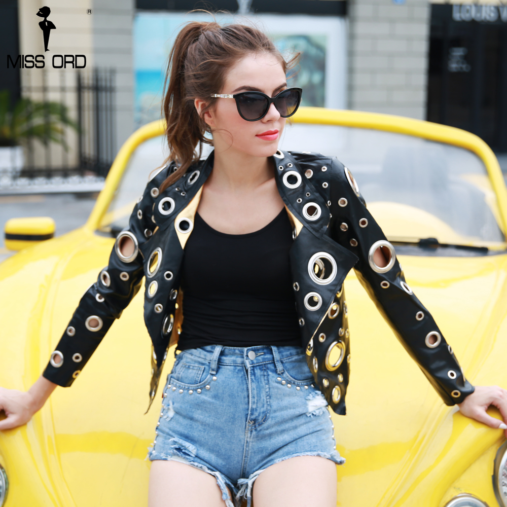 Missord 2018 Autumn Winter Metal Ring Hollow Out Black Gold Long Sleeves Cool Leather Jacket Coat FT8491