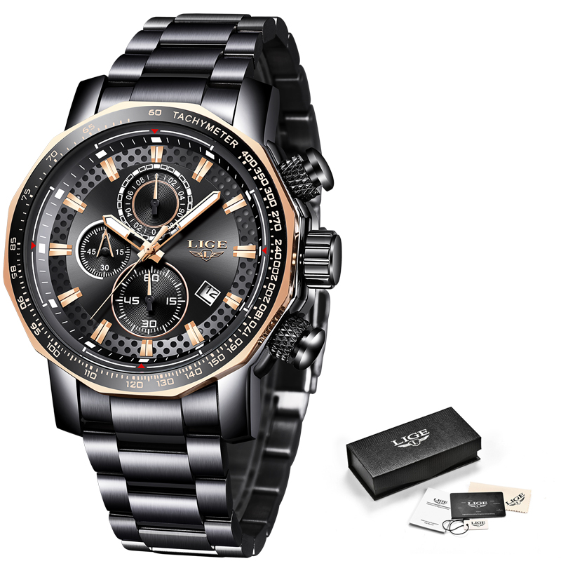 Nuevos relojes para hombre de 2019 LIGE, relojes de lujo deportivos de cuarzo, reloj de acero para hombre, reloj militar a prueba de agua, cronógrafo, reloj Masculino - 6