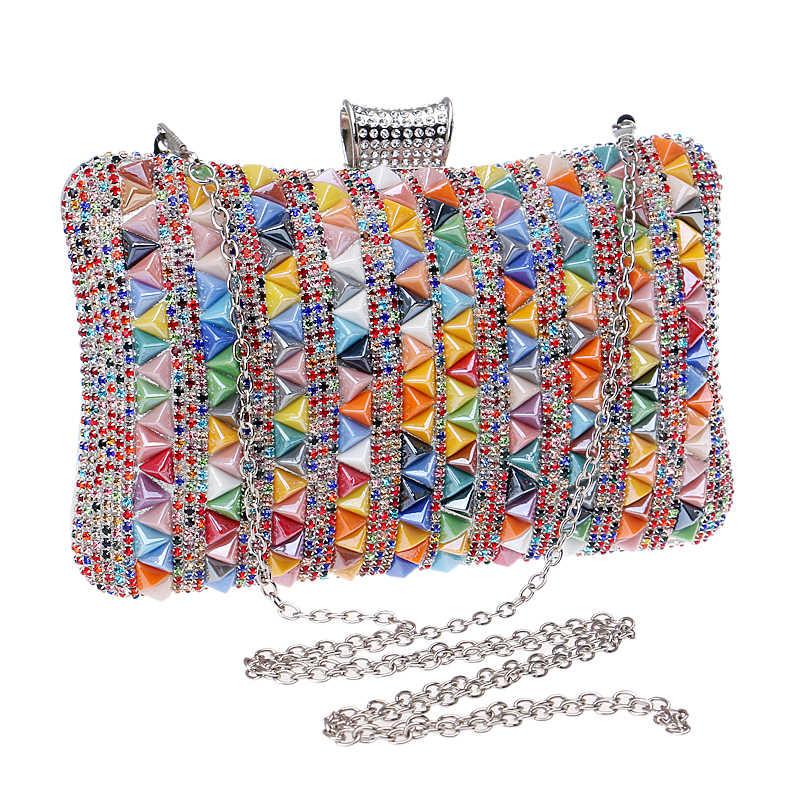 GLOIG Triangular Cerâmica Diamantes Mulheres Sacos de Noite de Strass Bolsa de Ombro Cadeia Bohemian Estilo de Festa de Casamento Embreagens