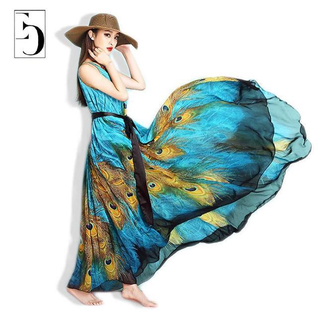 Женщины Лето Dress 2016 M-9xl Павлин Печати Плюс Размер Dress Чешский Национальный Chiffion Длинные Maxi-Бич Платья Одеяние Женщин Новый