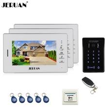 "JERUAN wired 7"" LCD video door phone intercom system 3 white monitor 700TVL RFID waterproof touch key password keypad camera"