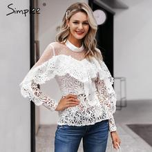 Simplee Ruffled lace mesh embroidery white women blouse shirt Elegant hollow out long sleeve female tops Sexy ladies party tops