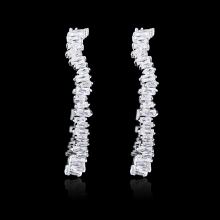 Brincos 2018 New Design Hoop Earrings Irregular Silver Color Cubic Zirconia Prong Setting Earring For Women Party Bridal Jewelry