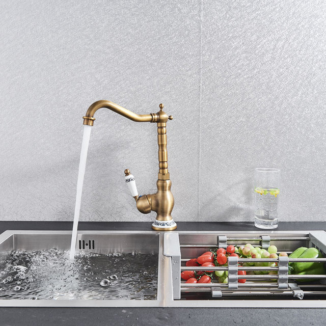 Antique Brass Kitchen Faucet Hot & Cold Mixer Tap Single Hole Bathroon Faucet  Rotatable crane Blue and white porcelain handle