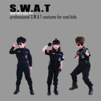 Cool S.W.A.T Policeman Uniform Costumes For Kids Short&Long Sleeve Set Army Cosplay For Performance Party Events Free Shipping