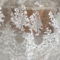 New Lace Silk Fabrics High End Evening Dress Wedding Fabrics Embroidery Positioning Lace Cloth 135cm 50cm