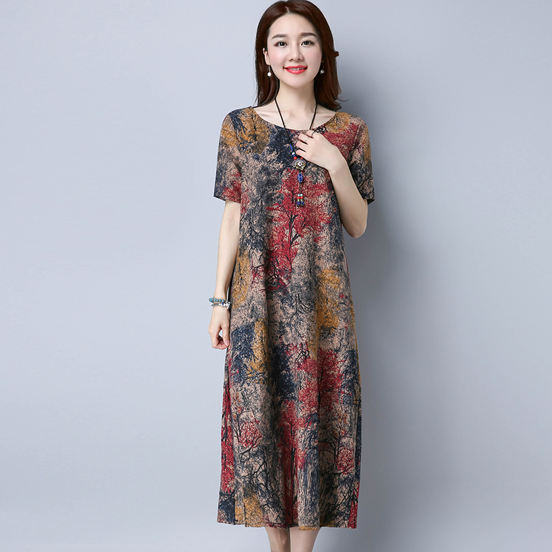 3f78f515630 2019 Summer new RETRO art printing cotton dress female folk style big loose  linen dress code M XL 2XL -in Dresses from Women s Clothing on  Aliexpress.com ...