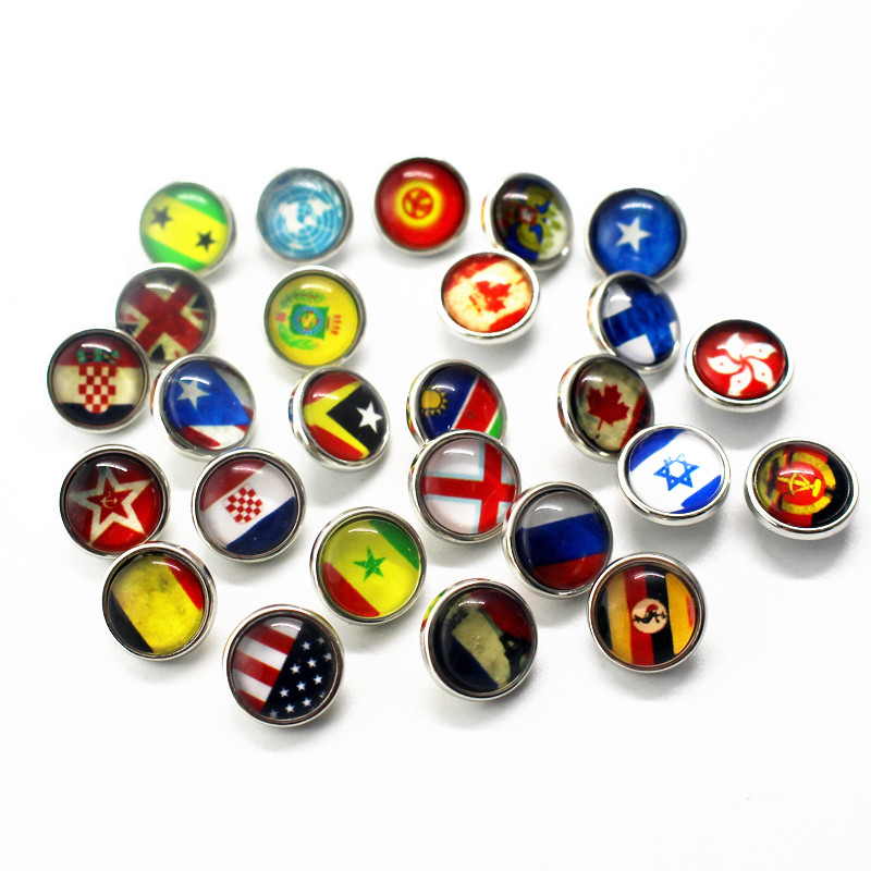 Random Mix Glass 12mm Flag Snap Buttons Small Print Cabochon Fit DIY Snap Jewelry Accessories 10pcs/lot image